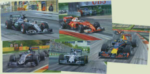 F1 Grand Prix cards featuring Hamilton, Button, Alonso, Kubica and Barrichello - from motorsport paintings by Michael Turner