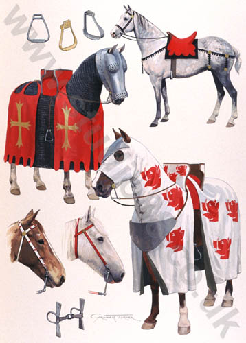 El caballo de guerra medieval. Evolución de su equipamiento y armadura Large_orig_14c_c