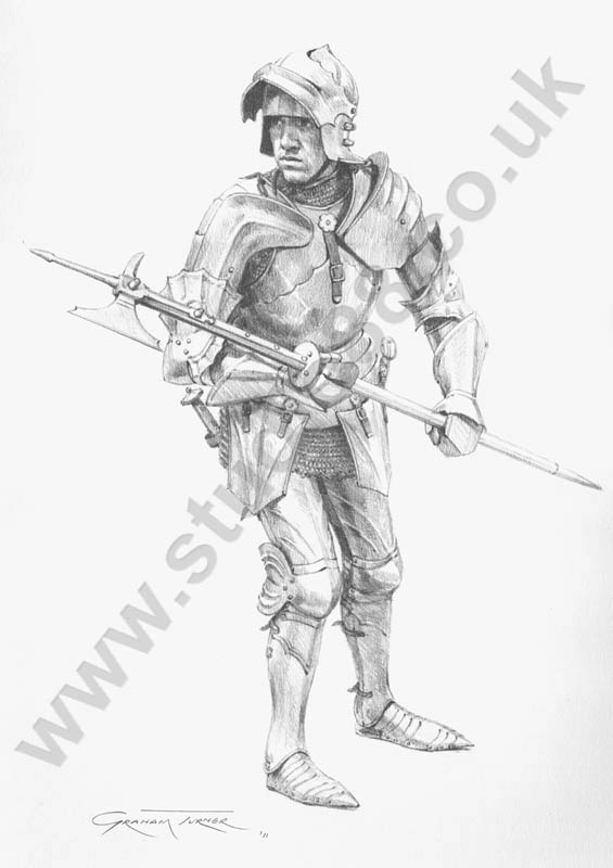 drawings of medieval knights and armour by graham turner