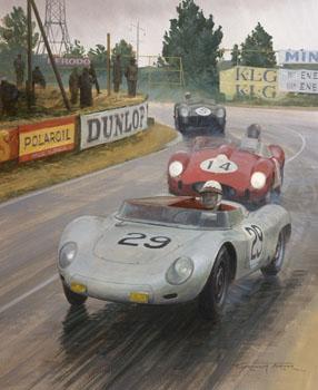 1958 le mans jean behra porsche rsk original motorsport art painting by graham turner. Black Bedroom Furniture Sets. Home Design Ideas